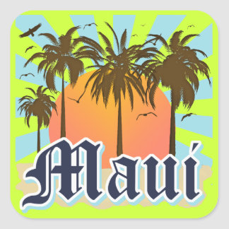 Island of Maui Hawaii Souvenir Square Sticker