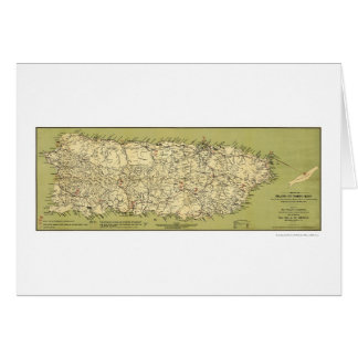 Island of Puerto Rico Map 1900 Card
