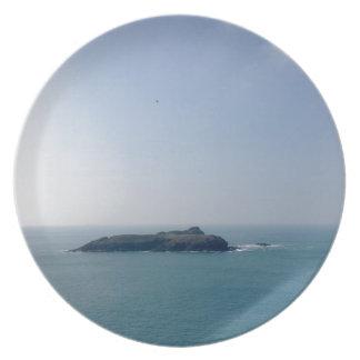 Island off the Cornish coast Plates