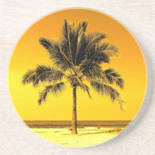 Island Palm Tree Drink Coasters