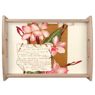 Island Plumeria Flowers Tropical Bermuda Floral Serving Tray