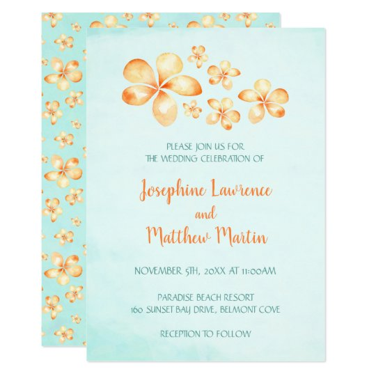 Island Plumeria Wedding Invitations