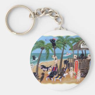 Island Summer Vacation Labradors Key Ring