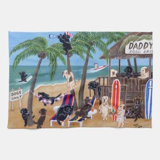 Island Summer Vacation Labradors Painting Tea Towel
