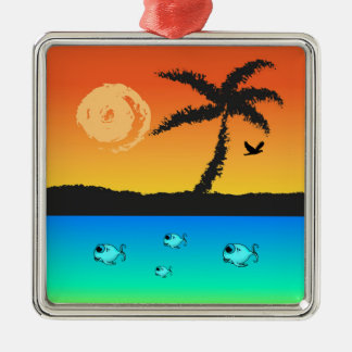 Island Sunset Christmas Ornament