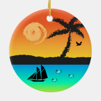 Island Sunset Christmas Ornament