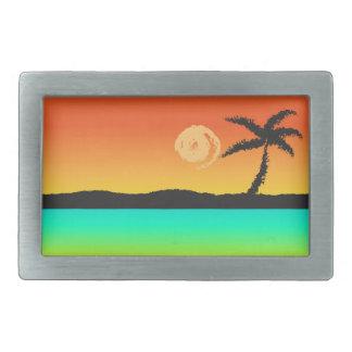 Island Sunset Rectangular Belt Buckles