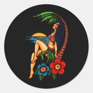 Island Sunset Round Sticker