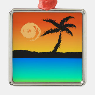 Island Sunset Silver-Colored Square Decoration