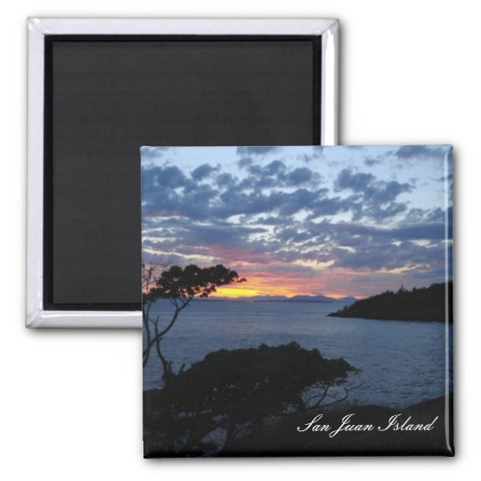 Island sunset square magnet