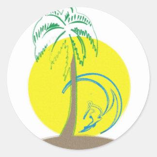 Island Surf Round Sticker