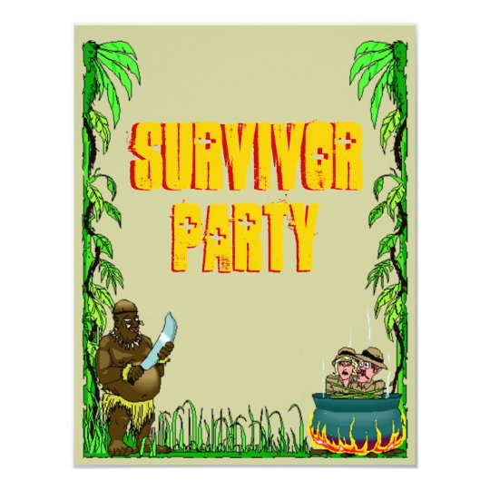 Island Survivor Fun Themed Party Invitations