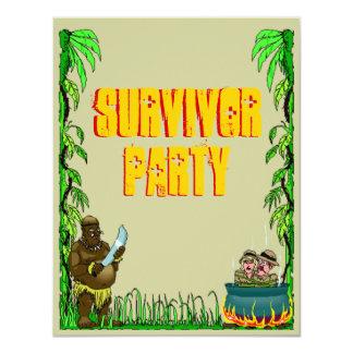 """Island Survivor Fun Themed Party Invitations 4.25"""" X 5.5"""" Invitation Card"""