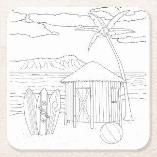 Island Tiki Hut Adult Coloring Paper Coaster