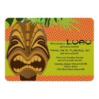 "Island Tiki Luau Party Invitation #2 5"" X 7"" Invitation Card"