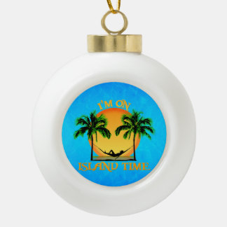 Island Time Ceramic Ball Christmas Ornament