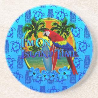 Island Time Sunset And Tikis Sandstone Coaster