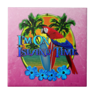 Island Time Sunset Small Square Tile