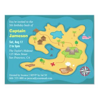 Island Treasure Map, Pirate Birthday Party 11 Cm X 14 Cm Invitation Card