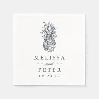 Island Vintage Pineapple Wedding Disposable Serviette