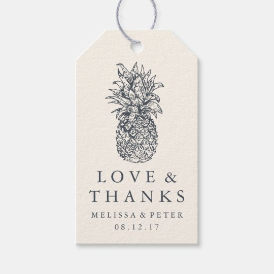Island Vintage Pineapple Wedding Thank You Favour