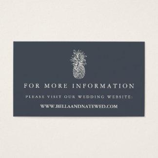 Island Vintage Pineapple Wedding Website Business Card
