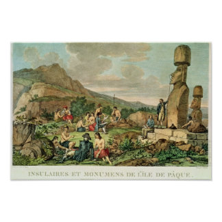 Islanders and Monuments of Easter Island Print
