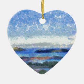 Islands in the Indian Ocean Ceramic Heart Decoration