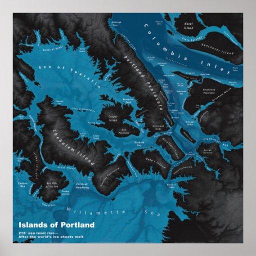 Islands of Portland--Extreme Sea Rise, Dark Poster