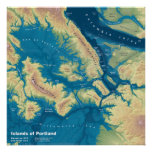 """Islands of Portland--Extreme Sea Rise Map 24""""x24"""" Poster"""