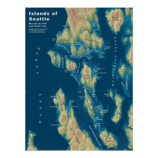 """Islands of Seattle--Extreme Sea Rise, 18""""x24"""" Poster"""