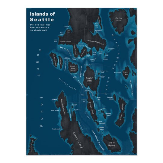 Islands of Seattle--Extreme Sea Rise, Dark Poster