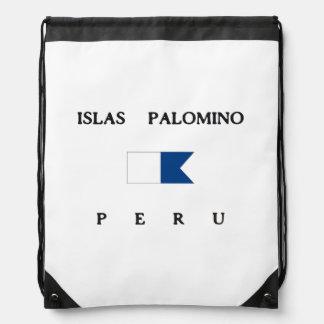 Islas Palomino Peru Alpha Dive Flag Drawstring Backpacks