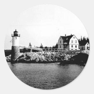 Isle Au Haut Lighthouse Round Stickers