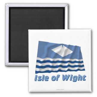 Isle of Wight Waving Flag with Name Square Magnet