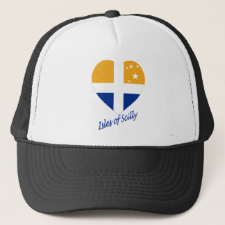 Isles of Scilly Flag Heart with Name Trucker Hat