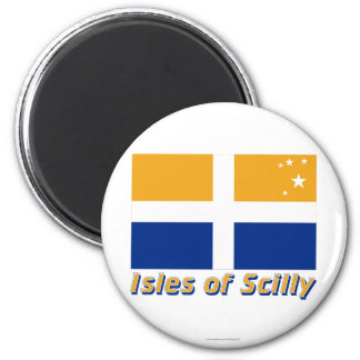 Isles of Scilly Flag with Name 6 Cm Round Magnet