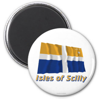 Isles of Scilly Waving Flag with Name 6 Cm Round Magnet