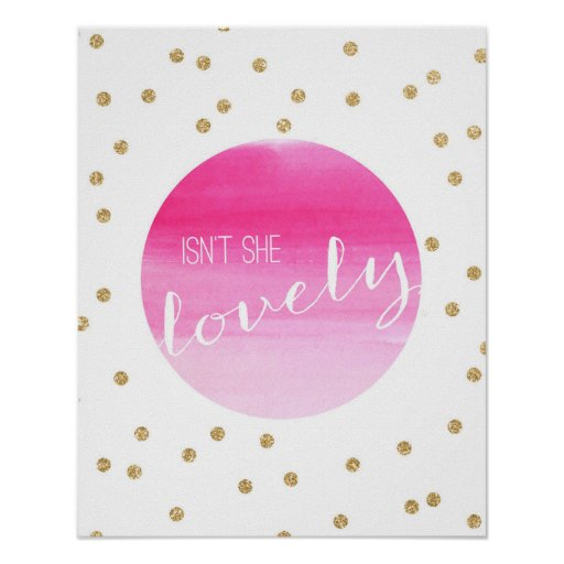 Isn't She Lovely Pink Watercolor and Gold Glitter