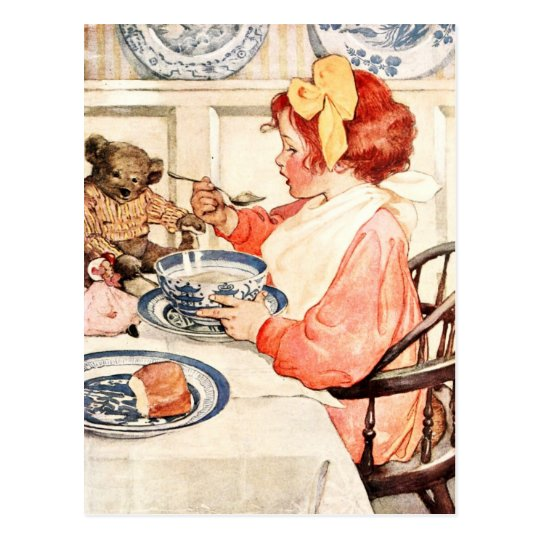 Isn't this porridge delicious, Teddy? Postcard