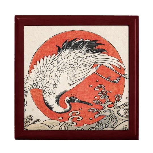 Isoda Koryusai Crane Waves and rising sun Large