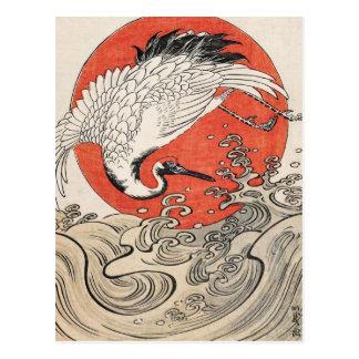 Isoda Koryusai Crane Waves and rising sun Postcard