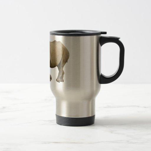 Isolated black rhinoceros coffee mugs