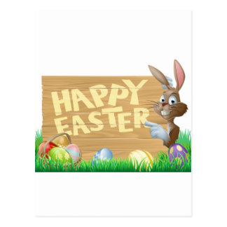 Isolated Happy Easter Bunny Postcards