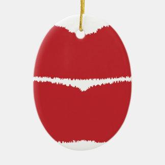 Isolated Lip Kiss Ceramic Oval Decoration