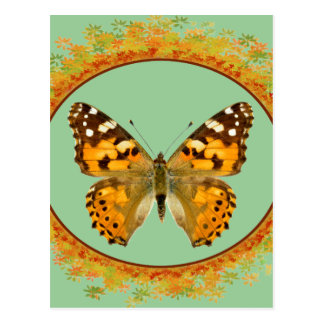 Isolated painted lady butterfly in frame of leaves postcard