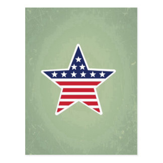 Isolated Star With American Flag Design Postcards
