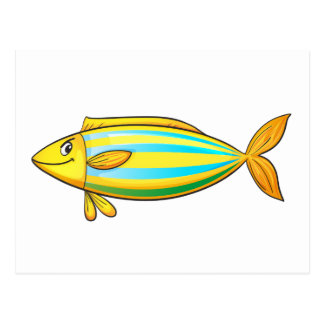 Isolated tropical fish on white postcard