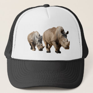 Isolated two white rhinoceros trucker hat