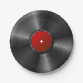Isolated Vinyl record Paper Plate